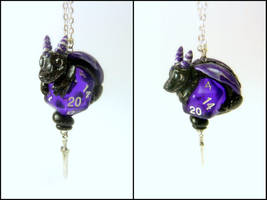 Black Dragon on Translucent Purple D20 - Necklace by Euphyley