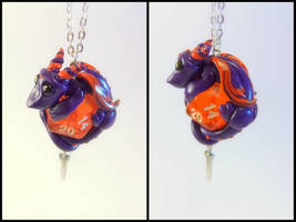 Purple + Red D20 Dice Dragon w/ Sword - Necklace by Euphyley