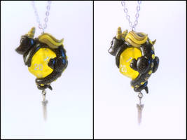 Black Dragon on Translucent Yellow D20 - Necklace by Euphyley