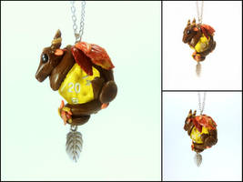 Fall Season Dice Dragon Necklace by Euphyley