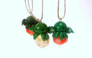 Chibi Cthulhu D20 Dice Christmas Ornaments by Euphyley