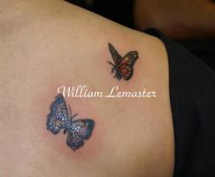 Right Shoulder- butterflies- W by SmilinPirateTattoo