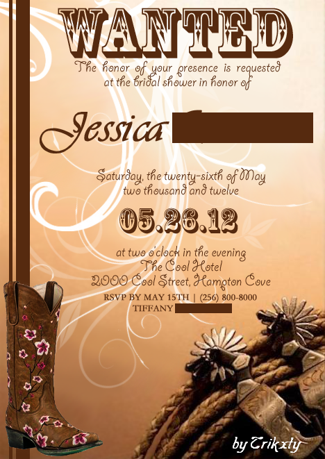 c1ee3b2dc8d Pretty Cowgirl Bridal Invitation Option 2 by Trikxty on DeviantArt