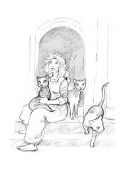 Wynter and her Cats by tinycoward