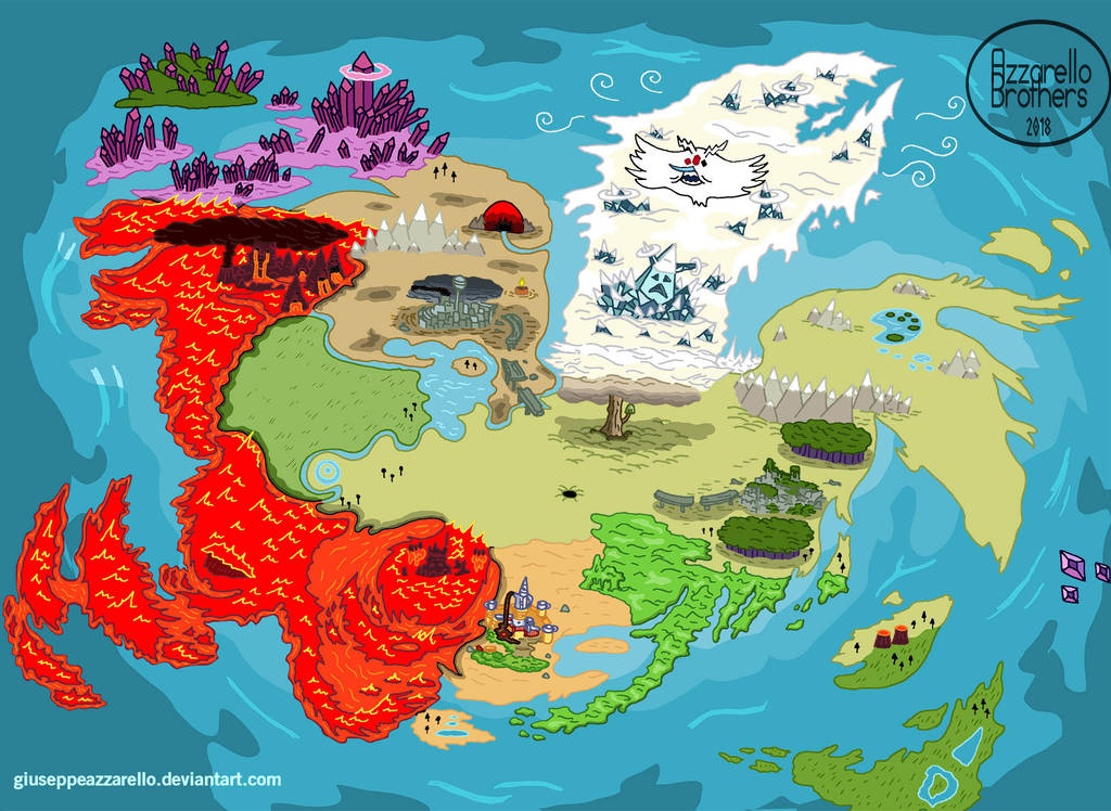 ADVENTURE TIME WORLD MAP   AFTER THE END by GiuseppeAzzarello on