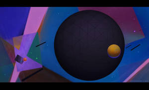 Space Suprematism Scene 1 by ArtistMEF