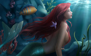 Ariel and Flounder by Wickellia