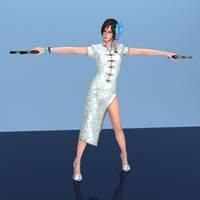 Ada White Chinese Dress -rendered- by Seumda