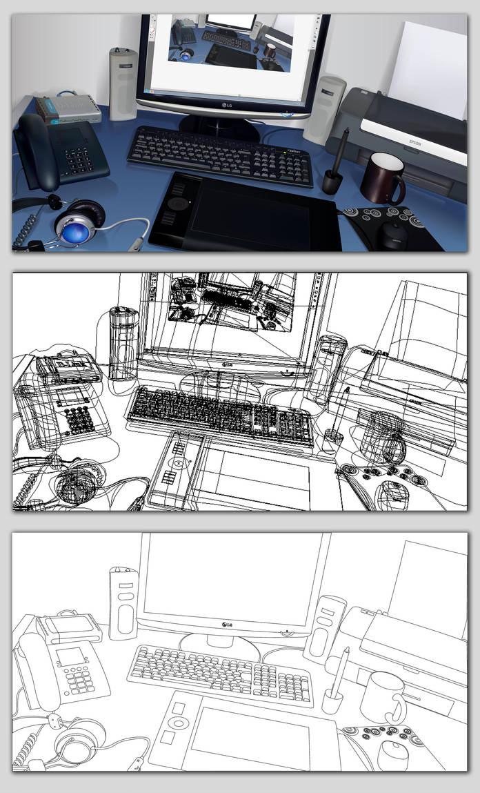 My desk in vector by LeonardoGouveia