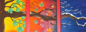 Fall Tree Triptych by ToniTiger415
