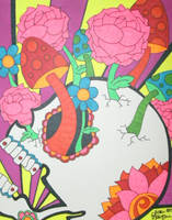 Sugar Skull with Mushrooms and Flowers by ToniTiger415