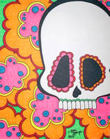 Neon Sugar Skull with Flowers by ToniTiger415