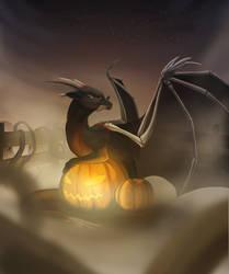 Guarding pumpkins by Inghelene
