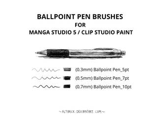 Ballpoint Pen Brushes (Manga Studio 5/CSP) by altback