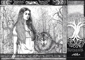 Hel and Garmr by AmazingLovecraft