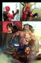Conan vs Deadpool page 2 by Aracubus