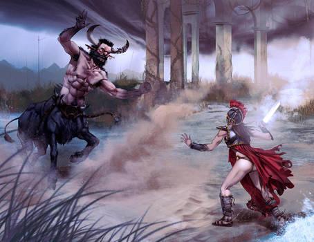 Athena vs BullCentaur? by Aracubus