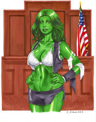 She-Hulk Torn Lawyer Clothes by daikkenaurora