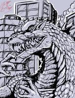 Godzilla ( in the city) by Gabe-TKE