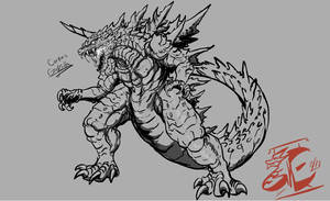 Commission: Corporis Godzilla (sketch) by Gabe-TKE