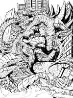 Atomic Rex V Zilla Jr (lines) by Gabe-TKE