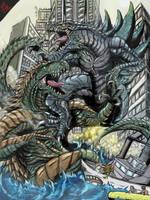 Zilla Jr V A-Rex: Battle in NYC by Gabe-TKE