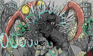 Commission: Godzilla X Kamacuras (duo) by Gabe-TKE
