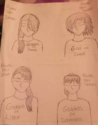 Rough Sketches - Gods and Goddesses Hair Designs by AlisiaLanet