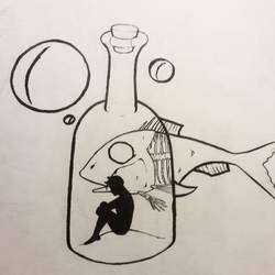 Alone in a bottle (Inktober) by GelatinGiant