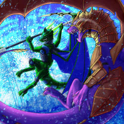 Dragon Time VS Chronometron [COMMISSION] by MissMagnificent
