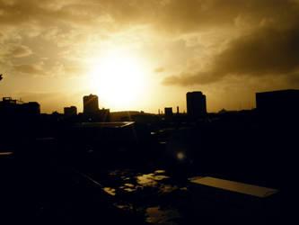 The sunset in Glasgow by Lapsonen