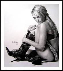Jessica Alba fullbody drawing by Per-Svanstrom