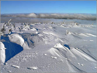 Snow dunes and smoke clouds by gshegosh