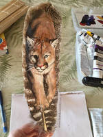 'Coming Into Power' - Cougar Feather Painting by BrandyWoods