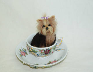 Needle Felted Yorkie puppy dog by amber-rose-creations