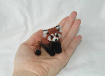 needle felted red panda ooak by amber-rose-creations