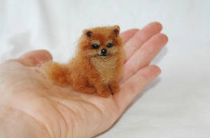 Miniature Hand Needle Felted Pomeranian Puppy Dog by amber-rose-creations