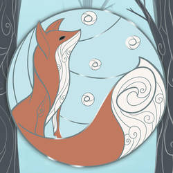 Red Fox in Winter - Nordic Enamel Pin Design by evybenita
