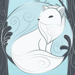 The Arctic Fox - Winter Enamel Pin Design by evybenita