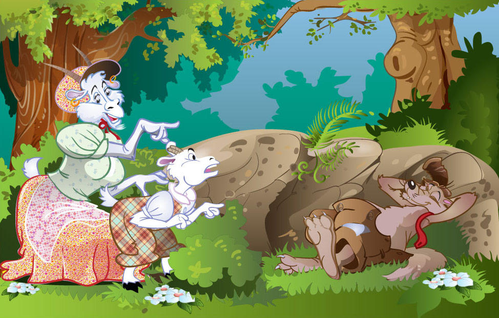 The wolf and seven little goats by Stevan55