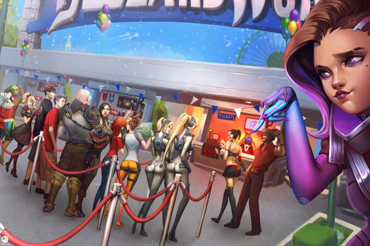 In line at Blizzard World by JELLYEMILY