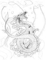 Koi Fish Dragon Lineart - Again WIP by WhiteWolfMystic
