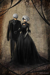 2B and 9S (Nier) by Diavle
