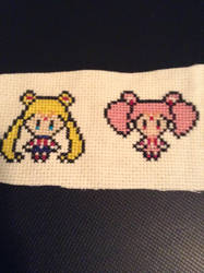 Sailor Moon And Chibimoon Cross Stitch by QuillArtist