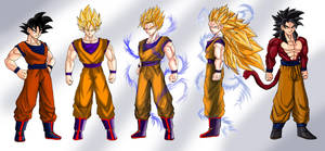 Base Goku and SSJ Stages 1-4 by dskemmanuel