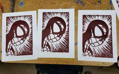 Spiderman Linocut Print | single color by jmnettlesjr