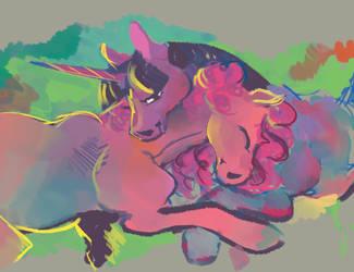 Horsey hug by spectralunicorn