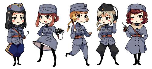 Finnish military girls by Essu