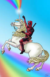 Deadpool on Unicorn by Evylina
