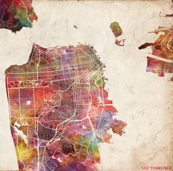 San Francisco Watercolor by MapMapMaps